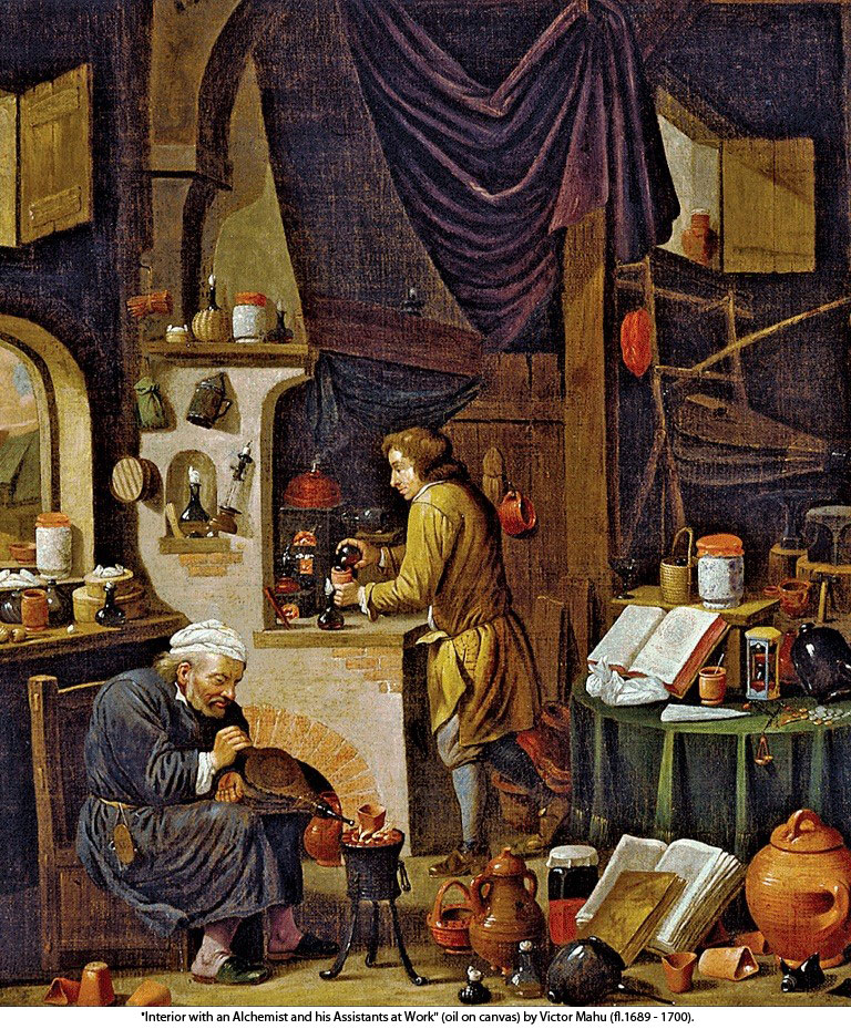 """Interior with an Alchemist and his Assistants at Work"" (oil on canvas) by Victor Mahu (fl.1689 - 1700)."